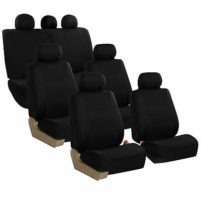 Car Seat Covers for Auto SUV Van Truck 3 Row Black