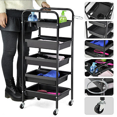Adjustable 5 Drawers Trolley Storage Salon Hairdresser Hair Beauty Coloring Cart