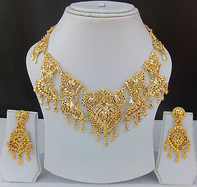 Indian Bollywood Bridal Jewelry Gold Plated Party Fashion Necklace Earrings Set