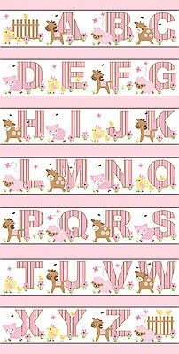 Pink Farm Animal Nursery Wallpaper Border Wall Art Decal Girl Barnyard Alphabet