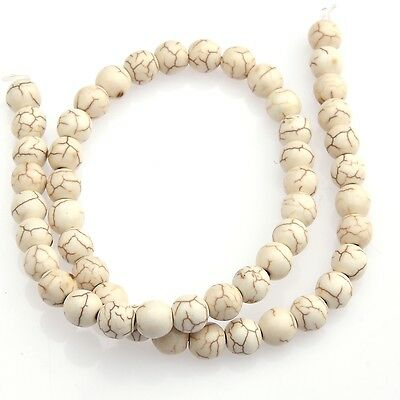 "15"" White Howlite Turquoise Gemstone Round Beads 6-14mm for Necklace/Bracelet"