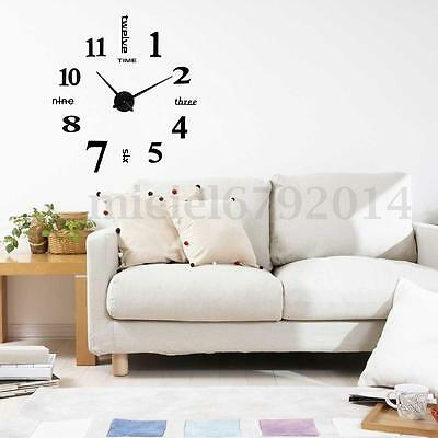 Impermeable EVA Moderno Moda DIY 3D Mirror Face Wall Clock Espejo Reloj de Pared