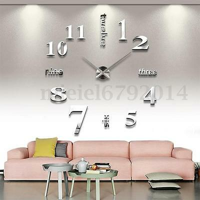 Impermeable EVA+Acrylic Moda DIY 3D Mirror Face Wall Clock Espejo Reloj de Pared