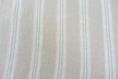 French Vintage Linen Stripe Duckegg Curtain/Craft / upholstery Fabric