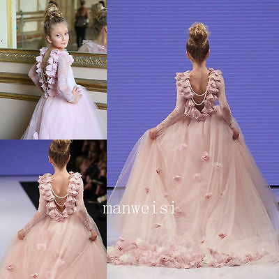 Long Sleeve Princess Bridal Flower Girl Lace Wedding Party Prom Dance Ball Gown