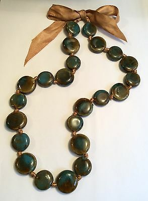 Vintage Arts & Crafts Ruskin style ceramic bead necklace - 23 beads