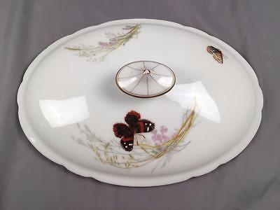 AntQ 1880's Haviland Meadow Visitors Scleiger 1155 Tureen Lid Only