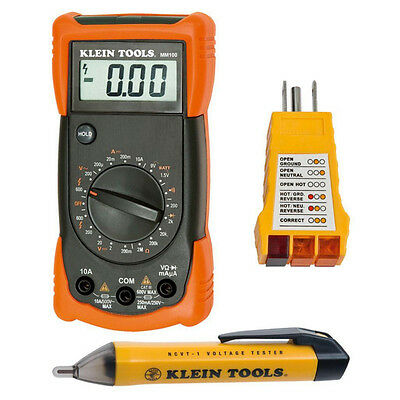 Klein Tools Electrical Test Digital Multimeter Voltage Tester Tools 3 Piece Kit