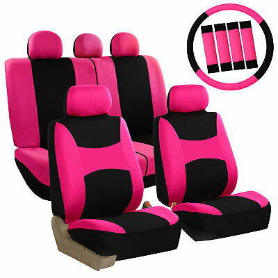 Pink  Car Seat Covers Set for Auto w/Steering Wheel/Belt Pad/Head Rests