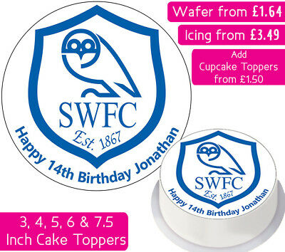 Sheffield Wednesday Football Team Edible Wafer & Icing Personalised Cake Toppers