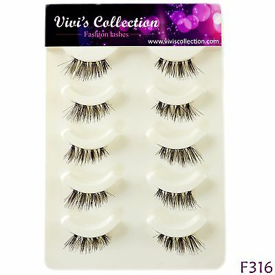 Vivi's Collection 5 Pairs F316 Half Corner Eyelashes False Fake Eye Lashes