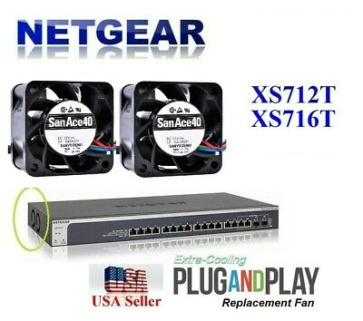 New! Netgear ProSAFE XS712T Fan Kit, (2x) replacement fans for Netgear XS712T