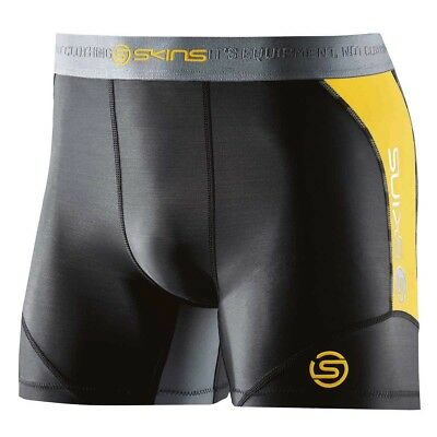 Skins NEW DNAmic Black Yellow Running Tights Motocross Mens Compression Shorts