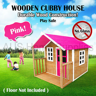 Pink Wooden Cubby House Outdoor Furniture Playhouse Durable Wood Safety Kid Play