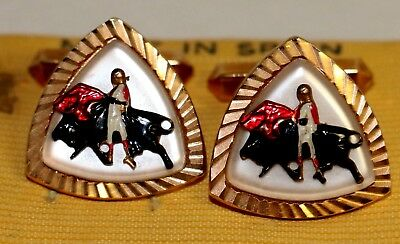 Vintage Spanish MATADOR Bull Fighter CUFFLINKS Gold Tone~Made in Spain