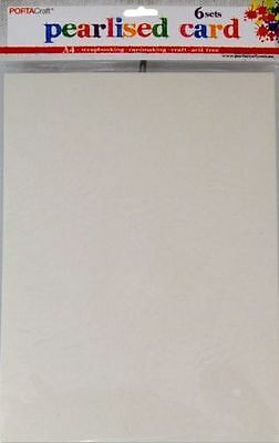 * PORTA CRAFT * Pearlised Card Heavy Weight A4 6 Pack White