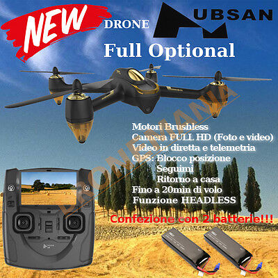 "HUBSAN H501S DRONE FOTO VIDEO in diretta monitor 4,3"" GPS CAMERA 1080p 2BATTERIE"