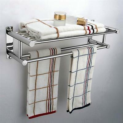 UK Double Towel Rail Holder Wall Mounted Bathroom Rack Shelf Stainless Steel New