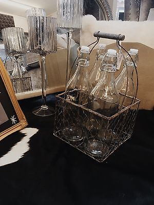 Vintage Rustic Look Bottle Carrier With Bottles Wire A Wood Pub Restaurant