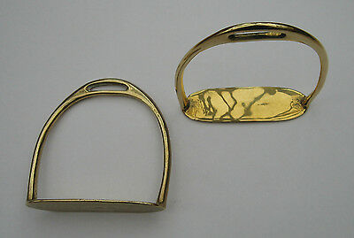 A nice pair of solid cast brass stirrup irons for a small rocking horse