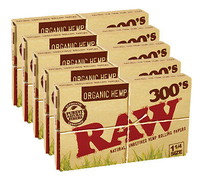 Raw Organic Rolling Papers 1¼ 300´s - 5er Set (1500 Papers)