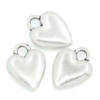 Packet of 20 x Antique Silver Tibetan 14mm Charms Pendants (Heart) ZX05360
