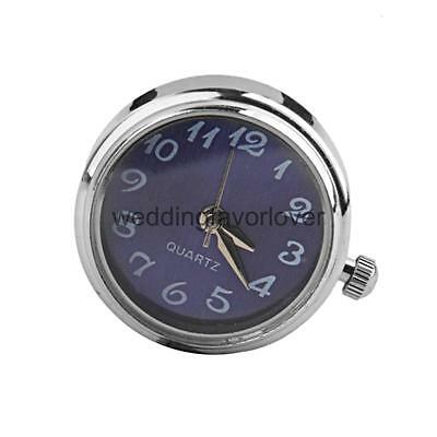 Silver Blue Watch Dial Snap it Charms Bead Button Watch Clock for Bracelet