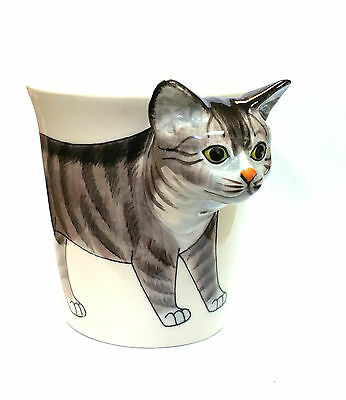 Tabby Cat Mug - 3D Head Handle - Handpainted Stoneware Tea Coffee Cup