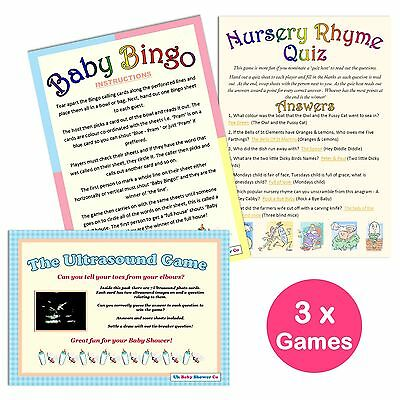 BABY SHOWER 3 GAMES PACK-20 Players, Unisex, Bingo,Ultrasound,Nursery Rhyme Quiz