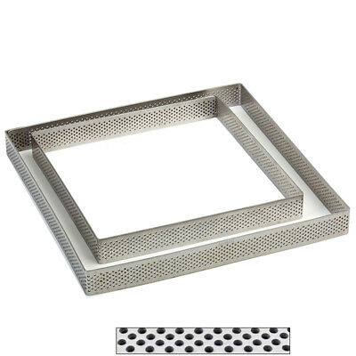 """Pavoni """"Progetto Crostate"""" Perforated Stainless Square Tart Ring 3/4"""" (2cm) High"""