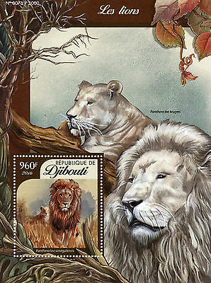 Djibouti 2016 MNH Lions 1v S/S Wild Animals Big Cats West African Lion