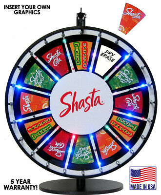 24 Inch Insert Your Own Graphics Lighted Prize Wheel with RGB Blinking LEDs