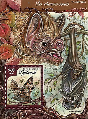 Djibouti 2016 MNH Bats 1v S/S Wild Animals Giant Golden-Crowned Flying Fox