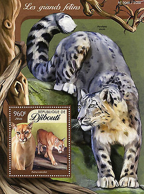 Djibouti 2016 MNH Big Cats 1v S/S Wild Animals Cougar Stamps