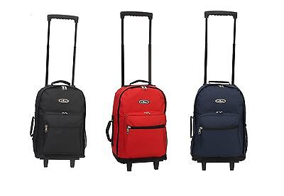 """Wheeled Rolling 17"""" Carry on Travel Backpack 1045WH"""