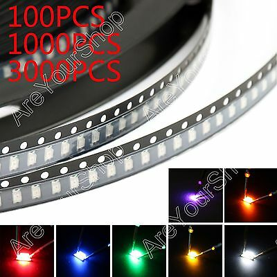 1206 SMD SMT LED Red Green Blue Yellow White Orange Purple 7Colours Light