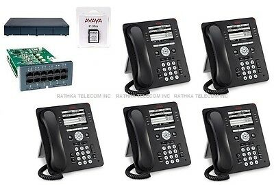 Avaya IP Office 500 IPO 500 V2 9.0  ATM4 Combo Card (5) Avaya 9508 Phones