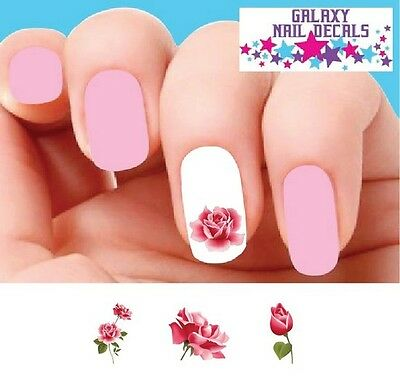 Waterslide Flowers Rose Nail Decals - Set of 20 Pink Roses Assorted