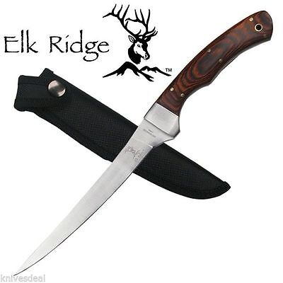 Fillet Knife 12 Inch Fixed Blade Wood Handle Full Tang