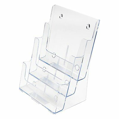 "3-Tier Brochure Holder Magazine Literature Holder Clear 8.5""x11"" with Divider"