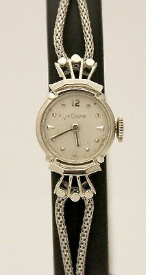 Vintage Lecoultre 14K White Gold & Stainless Steel Silver Dial 16mm 1920s Watch
