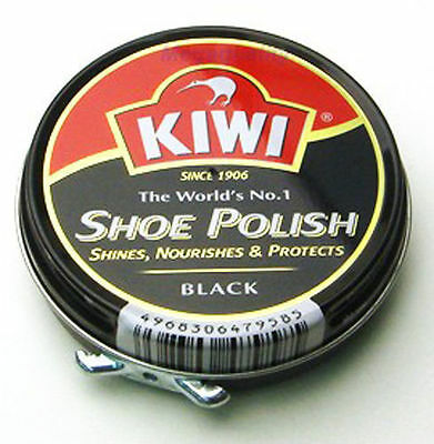 KIWI Shoe Boot Polish Wax Glossy Shines Nourishes Protects # BLACK 45 ml.
