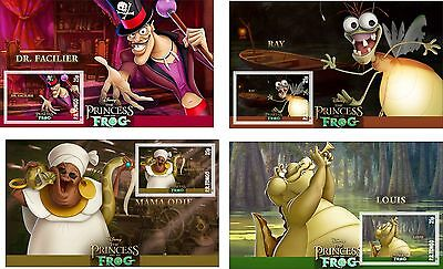 Disney Princess And The Frog Characters 8 Souvenir Sheets Mnh Unperforated