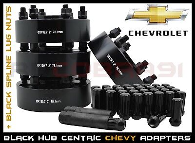 "COMPLETE SET OF CHEVY SILVERADO 6x5.5 BLACK HUB CENTRIC WHEEL SPACERS 2"" THICK"