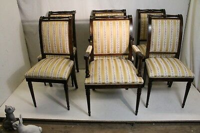 Charming Set of Six 6 Regency Style Maple Dining Room Chairs, New Upholstery