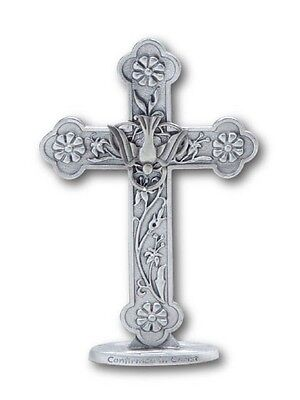 Confirmed In Christ Pewter Standing Confirmation Cross Holy Spirit Plaque Stand