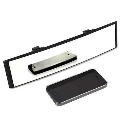 Universal 300mm Wide Convex Curve Clip On Panoramic Crystal Rear View Mirror
