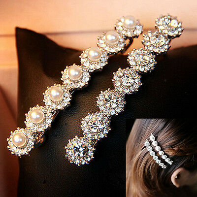 1pcs Fashion Women Hairpin Pearl Rhinestone Hair Clip Barrette Headwear Jewelry
