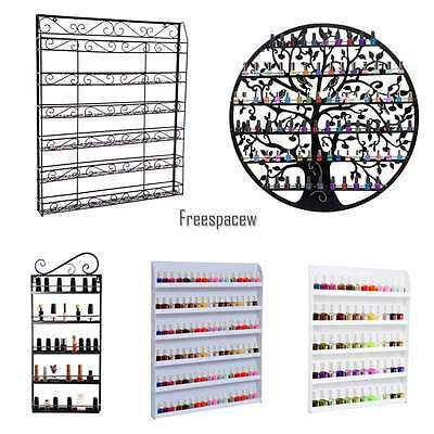 Nail Polish Shelf Wall Mount Rack Display Stand Organizer Metal up to 150 Bottle
