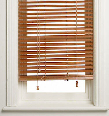 50mm Cedar Wooden Venetian Timber Blinds - Teak - With cut down option
